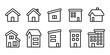 家ホームマンションアパート3階建線画アイコンセット白黒