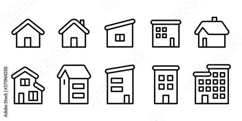 Fototapeta 家ホームマンションアパート3階建線画アイコンセット白黒 obraz