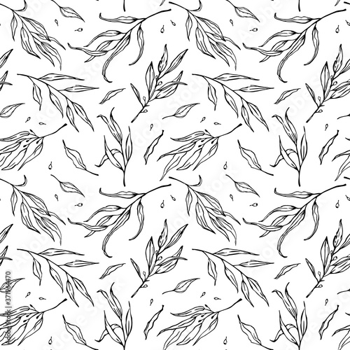 Fotografie, Obraz black and white outlined sketchy leaves branches seamless pattern, endless repea
