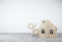 Wooden House With Sign Percent