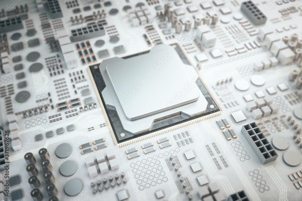 Fototapeta Microchip on a circuit board.