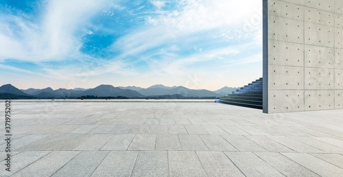 Empty square floor and beautiful West Lake scenery in Hangzhou,China Canvas Print