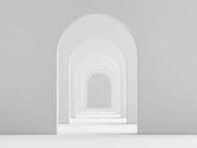 White Acrhitecture Arc Rhythm Background - 3d Rendering