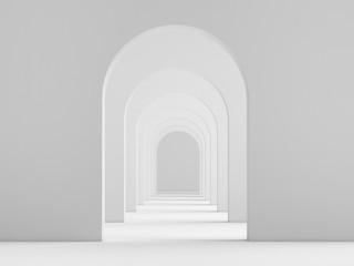 White acrhitecture arc rhythm background - 3d rendering
