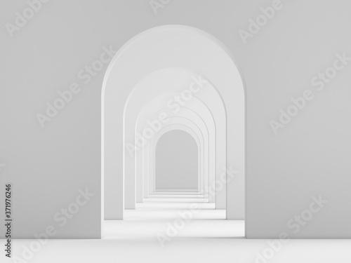 White acrhitecture arc rhythm background - 3d rendering Canvas Print
