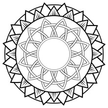 Abstract Mandala Or Whimsical Ornament Line Art For Design Or Coloring