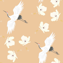 Seamless Vector Illustration With Birds Cranes And Hibiscus Flowers