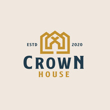 Golden Crown With Roof House Logo Template. Vector Illustration