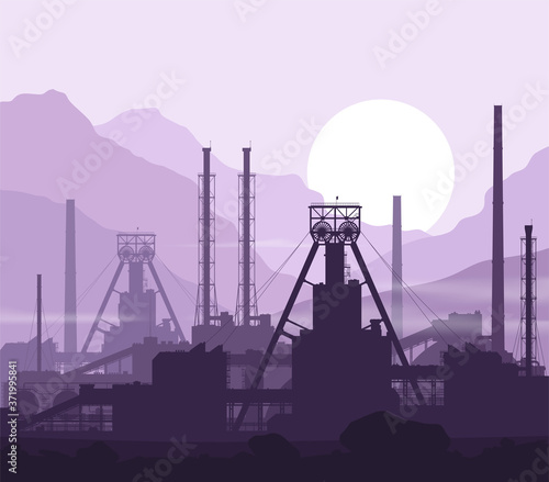 Mineral fertilizers plant over violet great mountain range at sunset. Detail vector illustration of large mine and chemical manufacturing plant.