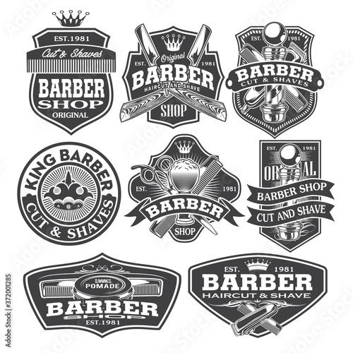 Barber Shop Hair Salon Hair Stylist Vintage  logo Luxury Pomade Retro Royal Vect Fototapeta