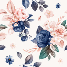 Floral Seamless Pattern Of Navy And Peach Watercolor Roses And Wild Flowers Arrangements On White Background For Fashion, Print, Textile, Fabric, And Card Background