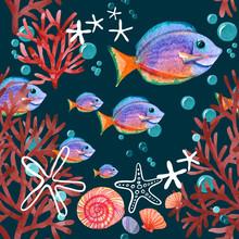 Underwater Life Pattern, Watercolor Fishes Pattern Design, Dark Blue Background, Ocean Elements