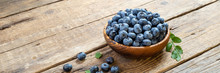 Fresh Blueberry In Wooden Bowl...