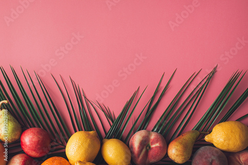 Obraz na plátně Summer tropical arrangement made with organic fruit and green palm leaves on pastel pink background