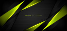 Abstract Template Green Metallic Overlap With Green Light Modern Technology Style On Black Background.