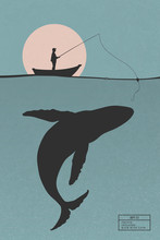 Fisherman In Boat. Man Isolated Silhouette With Fishing Rod And Big Whale Under Water. Pink Sun On Blue Texture Background. Vector Illustration For Use In Polygraphy, Textile, Design, Nursery Decor