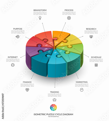 Infographic isometric puzzle circular template Canvas