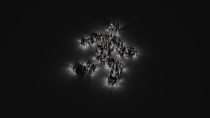 3d rendering of crowd of people with flashlight in shape of symbol of running on dark background