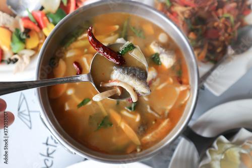 Fotografija fish and mushroom soup, spicy soup