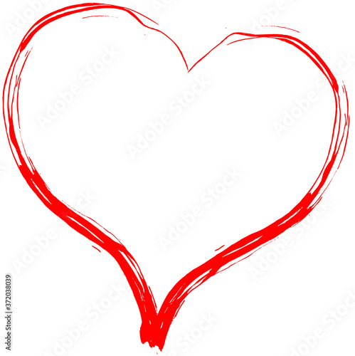 Red heart - doodle style outline for romantic valentines day greeting card Fototapete