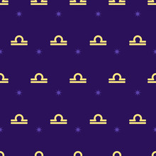 Zodiac Seamless Pattern. Repeating Libra Gold Sign With Stars On The Purple Background. Vector Horoscope Symbol