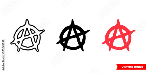 Valokuvatapetti Anarchy symbol icon of 3 types color, black and white, outline