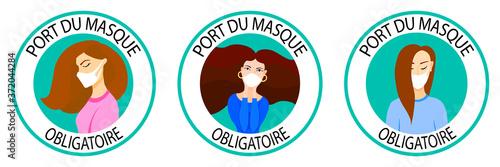 Port du masque obligatoire Fototapeta