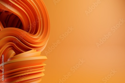 Fotografie, Obraz Abstract modern dynamic orange flowing curve swirl or twirl spiral shape lines o