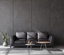 Living Room Interior In Loft, ...