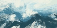 Abstract Paint Background Brush Stroke Blue And White Look Like Winter Landscape Of Snow Mountain And Sky.