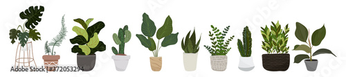 Fotomural Set of hygge vector illustration plants in pots stickers, patches, pins collection etc