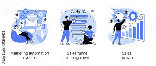 Billede på lærred Marketing software abstract concept vector illustration set