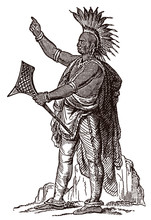 Pontiac, The Famous Ottawa Chief In Full Body View, Holding A War Club And Wearing A Feather Headdress. Illustration After An Antique Engraving