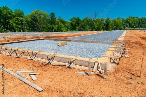 Fototapeta Preparation For New Construction Slab Foundation Pouring