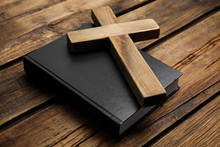 Christian Cross And Bible On W...