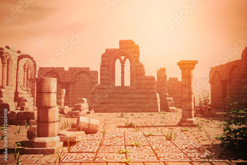 Fototapeta Ancient historical stone ruins with remains of walls and pillars and hazy background