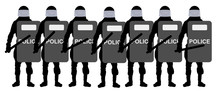 Detachment Of Riot Police With Shields And Clubs Stand In Line. Silhouette Vector Illustration