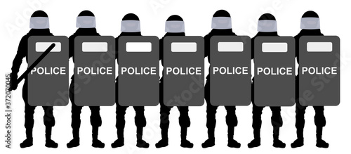 Police with shields. Silhouette vector illustration Canvas Print