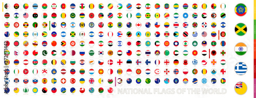 Obraz na plátně Round Circle Flag of the World Sorted Alphabetically by Continent