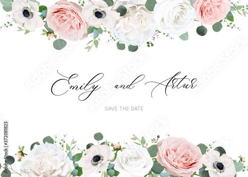Obraz na plátně White ivory & blush peach stylish wedding invite, invitation, save the date card design template