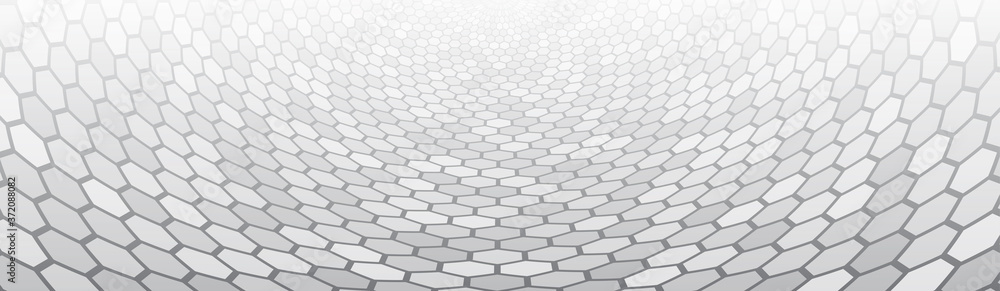 Fototapeta Gradient mosaic pattern. Abstract Perspective with hexagons. Wide Polygonal 3d background.