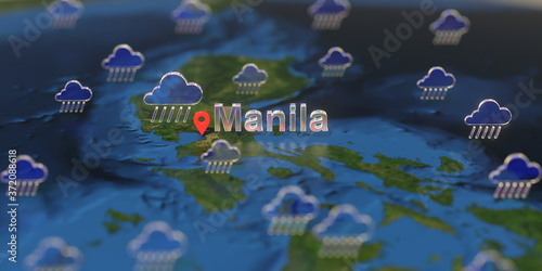 Leinwand Poster Manila city and rainy weather icon on the map, weather forecast related 3D rende
