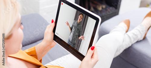 Fototapeta video LESSONS on the tablet screen, learning online obraz