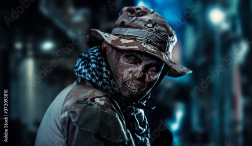 Papel de parede The soldier turned into a zombie is in the city.