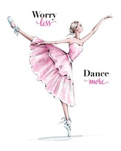 Hand Drawn Beautiful Dancing Woman. Pretty Ballerina. Girl In Blue Point Shoes. Ballerina In Pink Dress. Beautiful Female Ballet Dancer. Fashion Illustration.