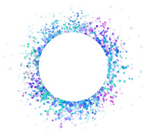 Colorful Abstract Circle Frame Paint Spatter Or Spray On White Background In Blue Green Pink And Purple Color Splash, Paint Spots And Dots Are Sprinkled Like Glitter Sparkle In Party Invitation Design