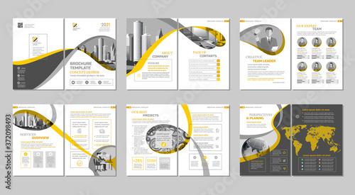 Fototapeta Brochure creative design. Multipurpose template, include cover, back and inside pages. Trendy minimalist flat geometric design. Vertical a4 format. obraz