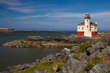 Bandon Lighthouse On The Coquille River In Bandon, Oregon, On The Southern Oregon Coast.