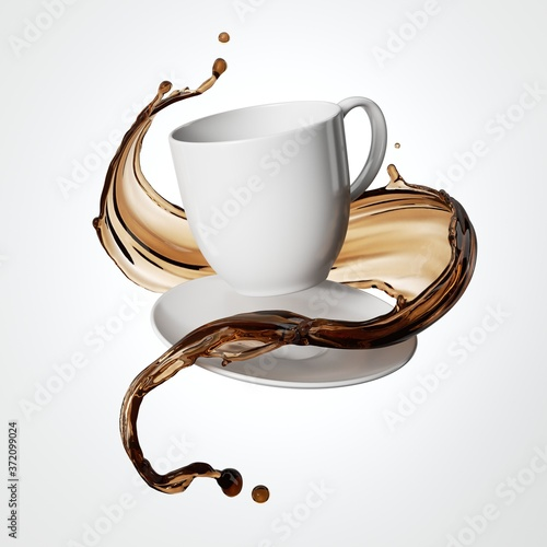 3d render, white ceramic saucer and cup for hot drink with brown splash isolated Fototapete