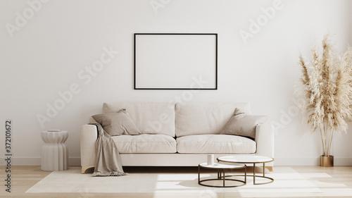Fototapeta Blank horizontal poster frame mock up in  scandinavian style living room interior, modern living room interior background, beige sofa and pampas grass, 3d rendering obraz